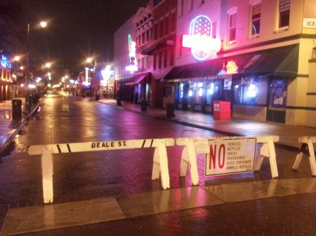 The east entrance to Beale Street, normally festooned with police prowlers. But why the reptiles?
