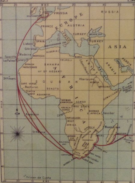 The worldview one hundred and fifty years ago. The European labels of Africa are striking, but also the choice of countries displayed in Europe is curious. Austria was the center of an empire back then.