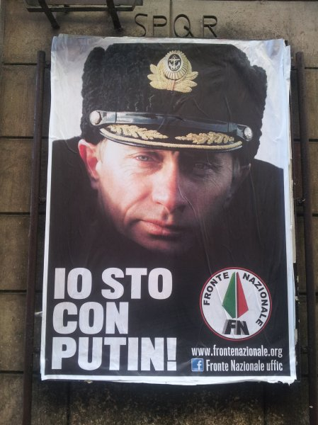 You might be perplexed why a hard-right (fascist) organization might support Putin? Because of his anti-gay stance. Note the letters SPQR above this poster on Via Scrofa. The meblem of the Roman legions, Senātus Populusque Rōmānus