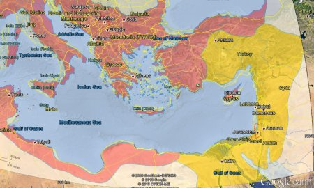 A projection of the Roman Empire in the days of Aurelianus, roughly fitted on today's geopolitical scene.