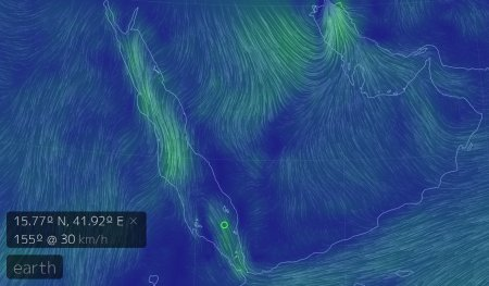 Animation in 'Earth Wind' of the winds in the red sea on the morning of January 18th 2014.
