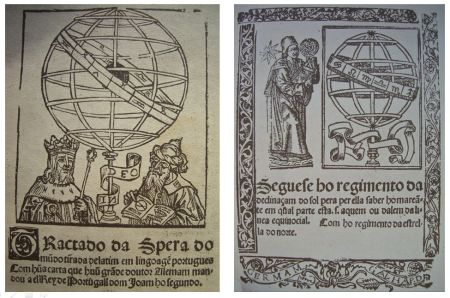 Cover pages of the 'Tratado da Spera do Mundo' (left), and the 'Regimento do Astrolábio' (right). Images from the facsimile edition of the Regimento do estrolabío de Évora, 1913, J. Bensaúde.