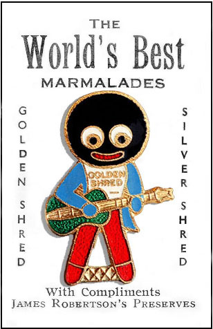 for years, Robertson's offered gollywogs as a children's collectible on their marmalade jars.