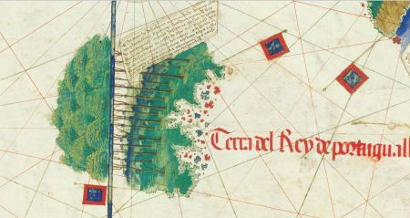A zoomed view of Newfoundland from the 1502 Cantino map. The Portuguese flag and reference to the king of Portugal are obvious, and the name of Gaspar Corte Real appears in the text. And the trees are beautiful.
