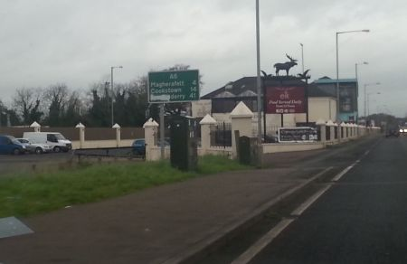Irish nationalists paint 'London' out of all the road signs through County Derry.