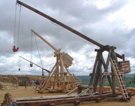 The Trebuchet was a form of catapult used in naval warfare.