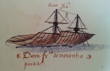 Every year a fleet was sent to the Indies. In 1533 the Bom Jesus was lost. This is illustrated simply in the XVIth Memoria das Armadas: two rigged masts sink into the ocean.