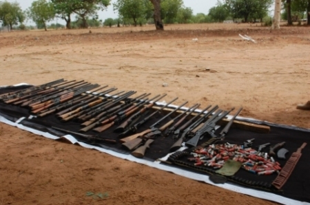 A Boko Haram arms cache seized by the Nigerian Army. Apart from the odd Kalashnikov, automatic weapons are thin on the ground.