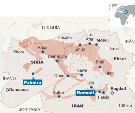 The state of play in the Mid-East, late May 2015 (map by El Pais)