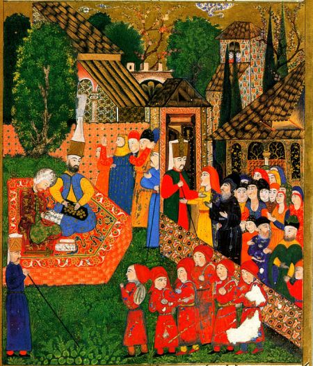 Janissary recruitment in the Ottoman Empire. Christian children were abducted and raised as Muslims to serve in the army and civil service.