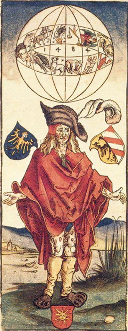 Depiction of a syphilitic man by Albrecht Durer. If the Spanish brought the disease back in 1493, why does the globe say 1484?
