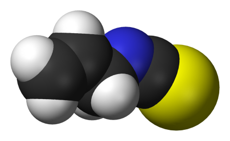 Allyl isocyanide in full regalia: few carbons and hydrogens, one blue nitrogen, and the wicked yellow sulphur. Five drops and your head explodes.