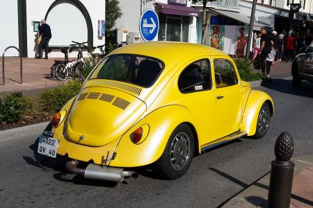 A Beetle drives by on a French road last weekend, blissfully ignorant of both emissions. In those days, the only software in the car were the seats.