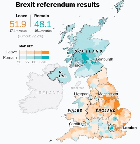 Regional distribution of the UK referendum vote.