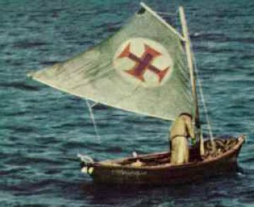 A timeless image of bravery: alone in a dory, a Portuguese fisherman flies the cross of the caravels.